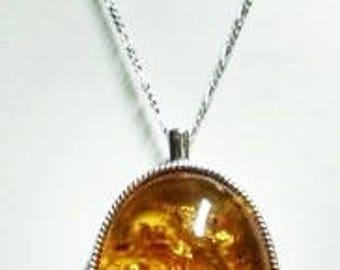 30x40mm Amber pendant, handcrafted, OOAK