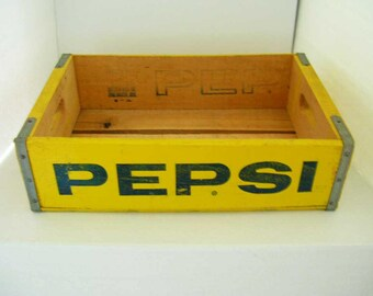 Vintage Pepsi Cola Wooden Crate Box Bottle Carrier Collectible Soda Pop Advertising 1976 Rustic Home Decor Storage