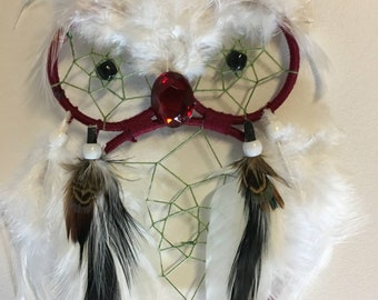 Dark Red Owl Dreamcatcher