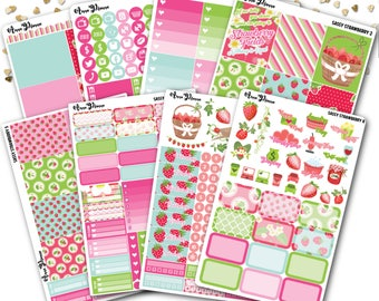 Sassy strawberry planner sticker kit