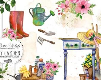 My Garden Clipart, Gardening Clipart , watercolour Clipart, Floral Clipart, Florist Clipart