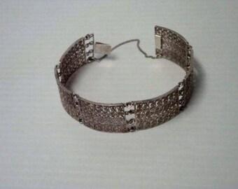 Vintage Silver 800 Filigree Link Panel Bracelet