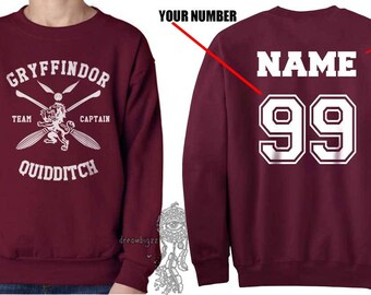 CAPTAIN - Custom back Gryffin Quidditch team Captain White print on Maroon Crew neck Sweatshirt