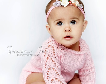 Super soft baby girl sitter size 6-12 month knitted romper and bonnet photography props