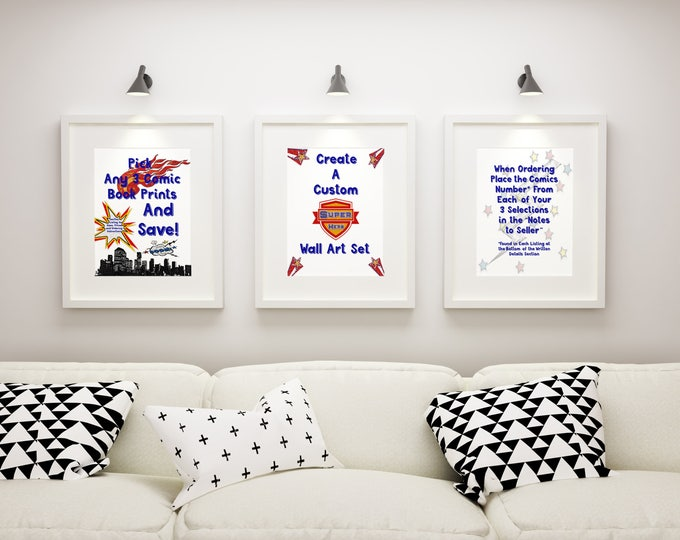 Pick Any 3 Comic Book Prints To Create A Custom Wall Art Print Set And Save With Special Pricing