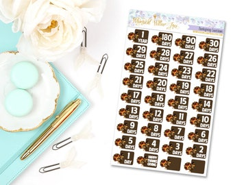 36 Thanksgiving Countdown Stickers | Perfect For Your Erin Condren Life Planner