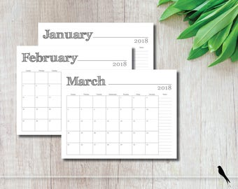 2018 Printable Wall Calendar - Simple Modern Rustic Font Monthly Notes Calendar Family Planner - Instant Download Calendar