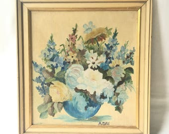 Floral Pastels- Vintage Painting by A. day