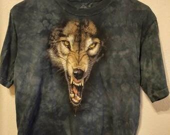Tie-Dye Wolf Face Shirt