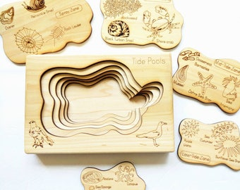 Tidepool layered puzzle, ocean wooden puzzle, montessori wooden puzzle