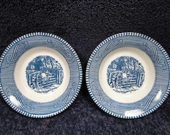 TWO Currier Ives Royal China Blue & White Farm Gate Berry Bowls Set of 2