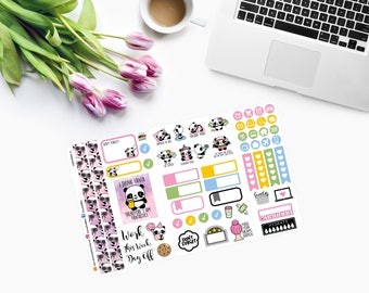 Pocket Size Slip-in PANDA WEEKLY SET Planner Stickers  CAM00250-4