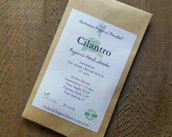 Organic Cilantro Seeds, Coriander, Organic Herb Seeds, Garden Seeds, non-GMO Heirloom Variety Cilantro, Organic Garden Seed, Herb Seeds