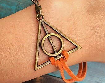 Harry Potter Deathly Hallows Charm Bracelet, Clasp Bracelet, Genuine Leather Suede Cord, Customize your cord color, Personalized