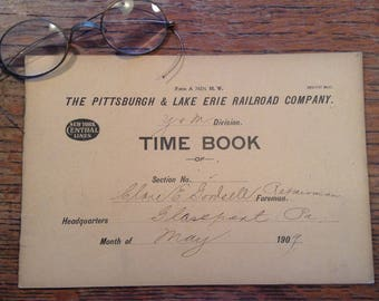 Antique 1909 Pittsburg & Lake Erie Railroad Company Time Book