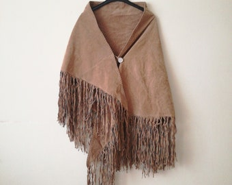 Vintage western poncho native american fringe cape leather 90s
