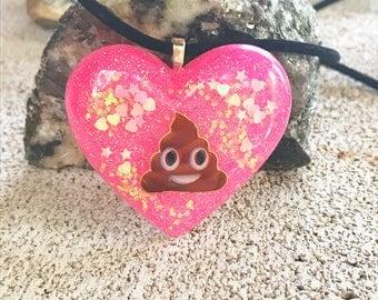Hot pink Kawaii cute poo emoji sprinkles resin heart pendant velvet cord necklace