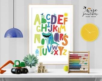 Nursery Alphabet, ABC Wall Art, Nursery Decor, Baby Birthday Gift,  Printable ABC Part 66