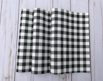 Buffalo plaid leather sheets black and white small print, faux leather, faux leather sheets. faux leather plaid sheets