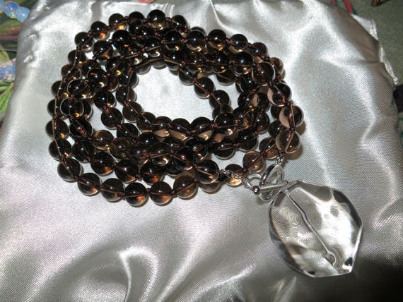 Lovely 8mm smoky quartz and natural crystal pendant necklace 40 inches