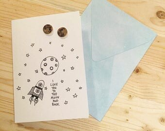 I love you to the moon and back card and earring set