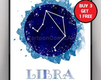 Libra Star Sign Zodiac Prints, Zodiac Libra Art, Watercolor Libra , Watercolor Zodiac Art, Libra Wall Art, Libra Decor, Libra birthday gift