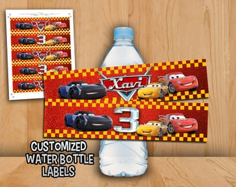 Disney Cars 3 Bottle Labels - Cars 3 Water bottle Labels Customized - Cars 3 Lightning Mcqueen Jackson Storm Birthday Party Printable