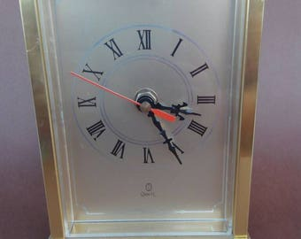 Vintage brass desk clock of the years 1970