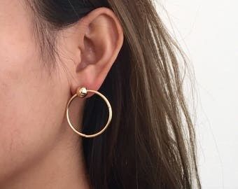 Ball circle earrings, minimal jewelry