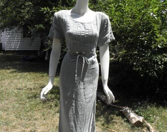 Vintage Maxi Teal Dress W/ Beaded Empire Waist and Strings