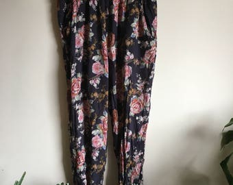 Vintage Floral Tapered Pants