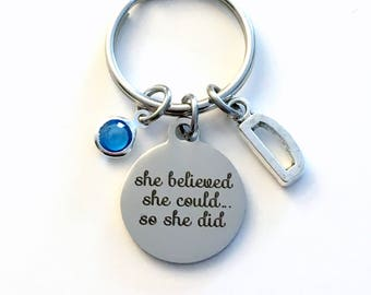 Graduation Gift, She believed she could so she did Keychain, Grad Keyring Present for Goal Achievement Law of attraction Key Chain initial