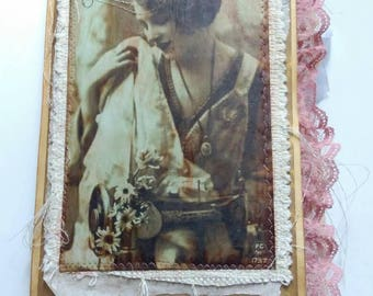 Vintage Sewing Journal - Handmade Junk Journal with Fabric and Lace | Writing and Memory Keeping