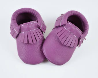 Baby Moccasins Light Purple Lilac Genuine Leather Moccs Newborn Boys Girls Kids Toddler Handmade Soft Soled Shoes Prewalker Booties Slippers