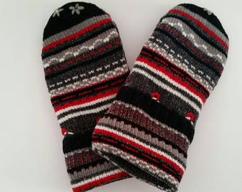 Hand made Mittens Sweater Mittens Fleece lined  mittens Warm mittens Soft Sweater mittens Upcycled Sweater mittens