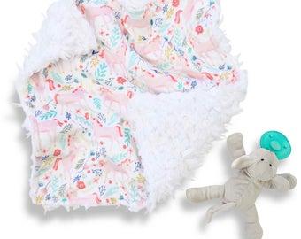 Prancing Unicorn Minky Baby Girl Lovey   Purple and Blush Security Blanket   Mini Baby Blanket   Faux Fur Lovie