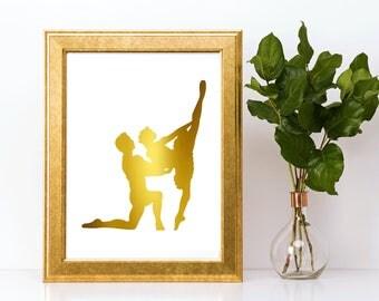 Gold foil print,ballerina wall art,gold foil, foil print,gold foil wall art,gold foil art,foil art,ballerina,ballet print,ballerina art