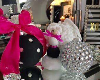 Black and white polka dot ornament