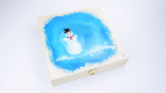 Black box with snow man hand painted winter Christmas giftbox woodbox unique blue white art picture acrylic painting gift