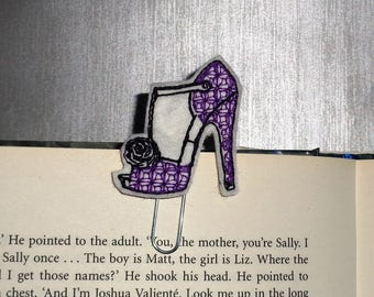 Purple Heel Shoe -  Book - Paper Clip  Felt Planner Clip - Planner Accessory - Stationery - Cute Paper Clip - Bookmark - Planner Clip