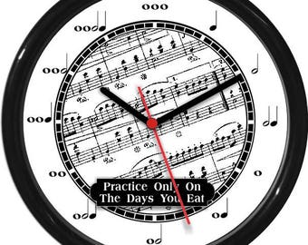 "Black and White Music Notes Teacher Wall Clock 10"" Personalized Wall Clock Classroom Decor Teacher Appreciation Gift"