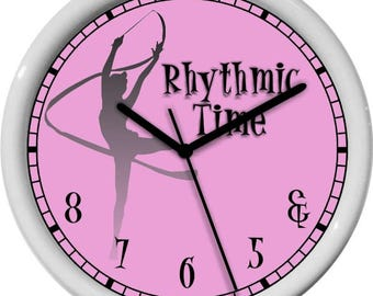Rythmic Time Pink Wall Clock Personalized Gift & 5 6 7 8 Dance Studio Girl's Room Gift Dance Studio