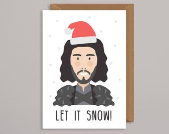 Game of thrones christmas card. GOT christmas card.jon snow.funny xmas card.dad.geek card.for him.handmade.husband.let it snow.tv xmas card