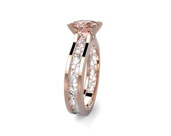 14k Rose Gold Morganite Ring Rose Gold Engagement Ring Morganite Diamond Engagement Ring Morganite Engagement Ring Morganite Rose Gold Ring