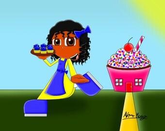 cupcake girl 3# 8x10 size