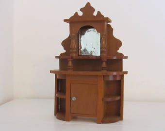 Antique Dollhouse Buffet With Mirror