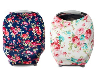 Kids N' Such Floral Multi Use Carseat Cover Bundle - Navy Floral & White Floral