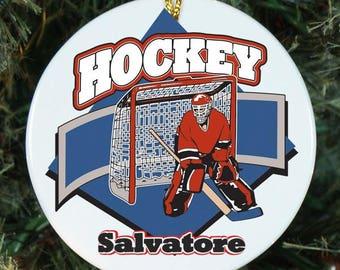 Personalized Hockey Ornament - Custom Ornaments - Personalized Tree Ornament - Christmas gift - Hockey Player - Holiday Gifts - Xmas gift