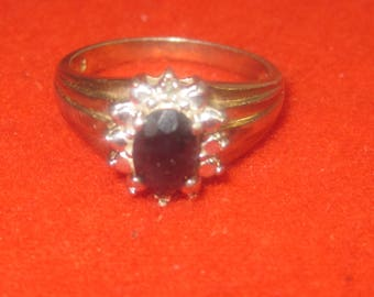 P-34  Vintage Ring sterling silver black onyx stone  size  8    1/4