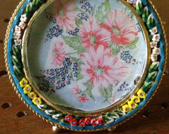 Micro mosaic round picture frame Made in Italy